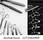 stylish professional barber... | Shutterstock . vector #1272464989