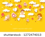 valentine day greeting card... | Shutterstock .eps vector #1272474013