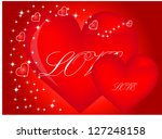 valentine hearts background.... | Shutterstock .eps vector #127248158