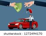 the car dealer's hand make an... | Shutterstock .eps vector #1272494170