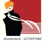fashion woman in style pop art. | Shutterstock .eps vector #1272497080