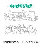 sketch of chemical experiment... | Shutterstock .eps vector #1272521953