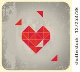 heart shape from triangles on... | Shutterstock .eps vector #127253738