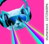 Party Dj Cat With Rainbow...