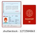 opened international passport... | Shutterstock .eps vector #1272584863