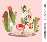 illustration with llama and...   Shutterstock .eps vector #1272614203