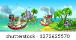 vector panorama of ships and... | Shutterstock .eps vector #1272625570