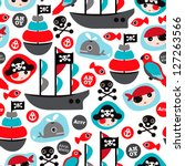 Stock vector seamless pirate island illustration colorful kids retro background pattern in vector 127263566