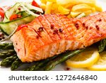grilled salmon  french fries... | Shutterstock . vector #1272646840
