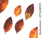 watercolor autumn leaves... | Shutterstock . vector #1272658999