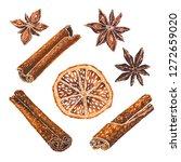 anise stars  dried orange slice ... | Shutterstock . vector #1272659020