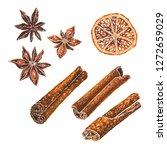 anise stars  dried orange slice ... | Shutterstock . vector #1272659029