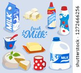set of milk products  dairy... | Shutterstock .eps vector #1272666256