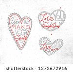 set of valentines day flat... | Shutterstock .eps vector #1272672916