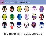 avatars faces in a minimalist... | Shutterstock .eps vector #1272680173