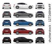 realistic cars set. sedan.... | Shutterstock .eps vector #1272684649