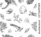 seamless hand drawn seashells ... | Shutterstock .eps vector #1272699589