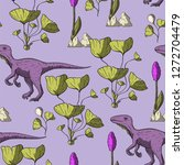 theropod dinosaur seamless...   Shutterstock .eps vector #1272704479