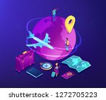 tourists with suitcase and... | Shutterstock .eps vector #1272705223