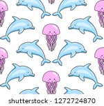 dolphins and jellyfish.... | Shutterstock .eps vector #1272724870