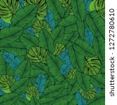 tropical exotic leaves pattern. ... | Shutterstock .eps vector #1272780610