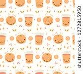 cute whole orange citrus fruit... | Shutterstock .eps vector #1272815950