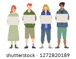 group of young people holding... | Shutterstock .eps vector #1272820189
