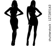 sexy woman silhouettes in short ... | Shutterstock .eps vector #127285163
