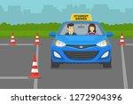 driving lesson. instructor... | Shutterstock .eps vector #1272904396