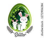 paper art of little bunny in... | Shutterstock .eps vector #1272906286