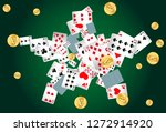 casino playing cards and money... | Shutterstock .eps vector #1272914920