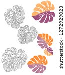 vector tropical pattern with... | Shutterstock .eps vector #1272929023