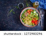 buddha bowl. pasta salad with... | Shutterstock . vector #1272983296