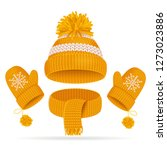 realistic 3d yellow hat with a... | Shutterstock . vector #1273023886