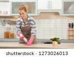 woman cleaning table with rag... | Shutterstock . vector #1273026013