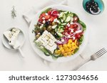greek salad. healthy diet eating | Shutterstock . vector #1273034656
