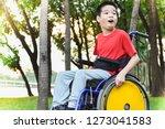 child sitting on wheelchairs... | Shutterstock . vector #1273041583