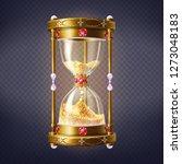 Golden Sand Clock Inlaid Rubie...