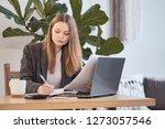 businesswoman working with... | Shutterstock . vector #1273057546