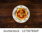 pasta with  chicken meat and... | Shutterstock . vector #1273078369
