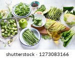 green vegetables for healthy... | Shutterstock . vector #1273083166