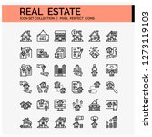real estate icons set. ui pixel ...