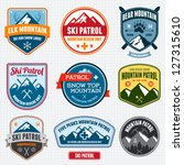 Set of ski patrol mountain badges and logo patches | Shutterstock vector #127315610