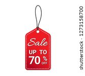 red sale tag 70 percent with... | Shutterstock .eps vector #1273158700