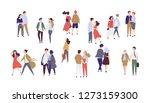 standing lonely single girl...   Shutterstock . vector #1273159300