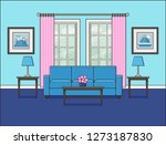 living room interior with... | Shutterstock . vector #1273187830