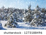 snowflakes falling from the sky.... | Shutterstock . vector #1273188496