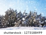 snowflakes falling from the sky.... | Shutterstock . vector #1273188499