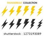 thunder and bolt lighting flash ...   Shutterstock .eps vector #1273193089