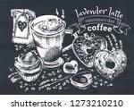 lavender latte illustration ... | Shutterstock .eps vector #1273210210